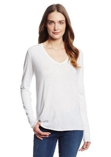Michael Stars Women's Luxe Slub Long Sleeve V Neck Tee Shirt