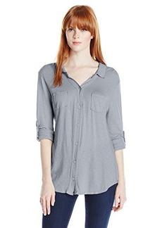Michael Stars Women's Slub Long Sleeve Button Down Shirt