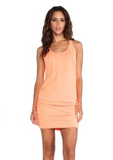 Michael Stars X REVOLVE Jersey Knit Sleeveless Scoop Neck Racerback Shirred Dress in Orange