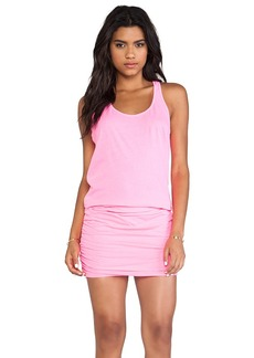 Michael Stars X REVOLVE Jersey Knit Sleeveless Scoop Neck Racerback Shirred Dress in Pink