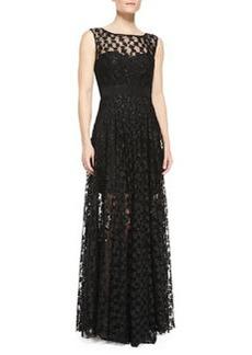 Alexa Lace Illusion Gathered-Skirt Gown   Alexa Lace Illusion Gathered-Skirt Gown