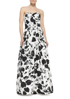 Ava Floral-Print Strapless Gown   Ava Floral-Print Strapless Gown