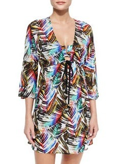 Ava Palm-Print Tunic Coverup   Ava Palm-Print Tunic Coverup