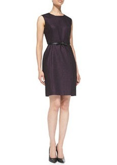 Belted Metallic Tweed Sheath Dress   Belted Metallic Tweed Sheath Dress