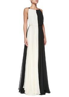 Bicolor Cross-Back Chiffon Gown   Bicolor Cross-Back Chiffon Gown