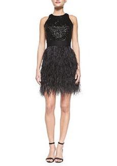Blair Sleeveless Sequined & Feather Dress   Blair Sleeveless Sequined & Feather Dress