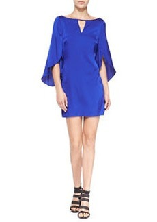 Butterfly-Sleeve Keyhole-Neck Dress   Butterfly-Sleeve Keyhole-Neck Dress