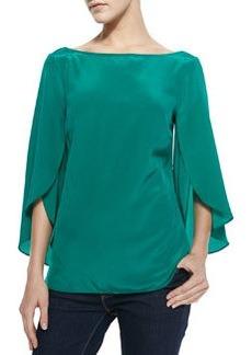 Butterfly-Sleeve Silk Top, Emerald   Butterfly-Sleeve Silk Top, Emerald