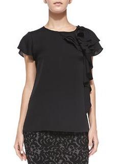 Camilla Short-Sleeve Ruffle-Side Blouse   Camilla Short-Sleeve Ruffle-Side Blouse