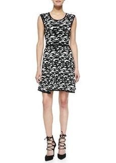 Camo-Print Jacquard Flare Dress   Camo-Print Jacquard Flare Dress