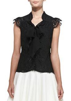 Emily Cap-Sleeve Tie-Neck Lace Top   Emily Cap-Sleeve Tie-Neck Lace Top