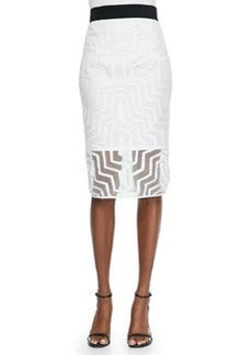 Fil Coupe Pencil Skirt, White   Fil Coupe Pencil Skirt, White