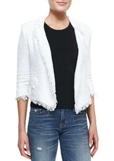 Fringe-Trim Cropped Tweed Blazer   Fringe-Trim Cropped Tweed Blazer