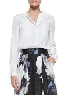 Gathered-Neck Long-Sleeve Silk Blouse   Gathered-Neck Long-Sleeve Silk Blouse