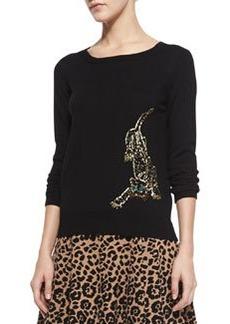 Knit Beaded-Cheetah Pullover   Knit Beaded-Cheetah Pullover