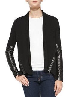 Knit Leather-Sleeve Cardigan   Knit Leather-Sleeve Cardigan