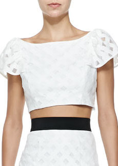Lattice Mesh Flounce Cropped Top   Lattice Mesh Flounce Cropped Top