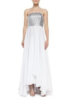 Layne Strapless Sequin Bodice & Georgette Skirt Gown   Layne Strapless Sequin Bodice & Georgette Skirt Gown