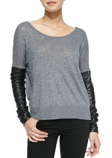 Leather-Sleeve Sweater   Leather-Sleeve Sweater