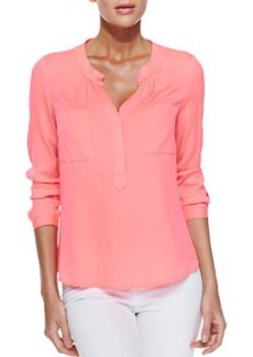 Long-Sleeve Blouse with Half Placket   Long-Sleeve Blouse with Half Placket