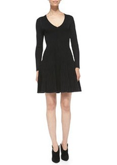 Long-Sleeve Ribbed-Knit V-Neck Dress   Long-Sleeve Ribbed-Knit V-Neck Dress