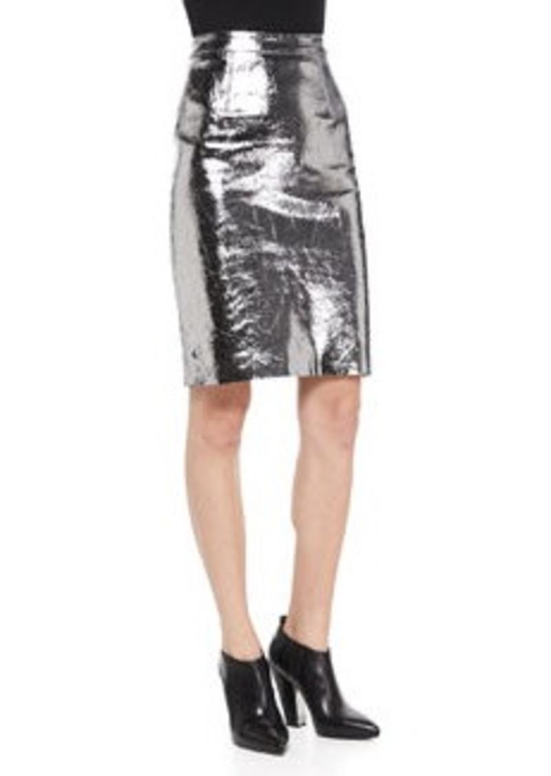 milly metallic leather pencil skirt metallic leather