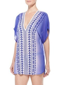 Milly Anguilla Embroidered Chiffon Tunic Coverup
