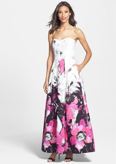 Milly 'Ava' Print Strapless A-Line Gown