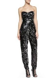 Milly Ava Sequined Strapless Jumpsuit