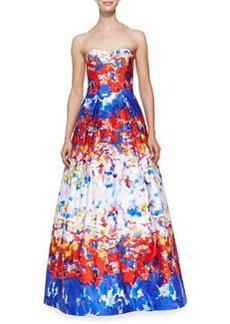 Milly Ava Strapless Watercolor Printed Gown