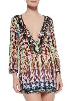 Milly Batik Printed Beaded Deep-V Coverup