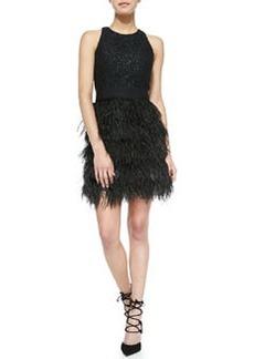 Milly Blair Sleeveless Feather-Skirt Dress