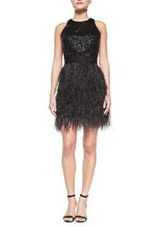 Milly Blair Sleeveless Sequined & Feather Dress