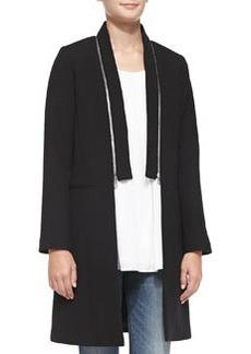 Milly Bonded Crepe Zip-Collar Coat