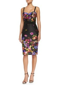Milly Bouquet Floral-Print Sateen Dress