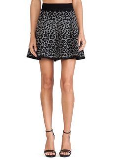 MILLY Cheetah Jacquard Flare Skirt