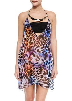 Milly Cheetah-Print Halter Coverup with Hardware