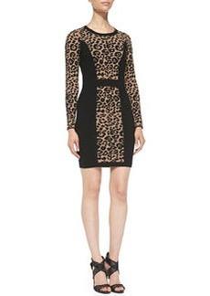 Milly Cheetah/Solid Long-Sleeve Knit Sheath Dress