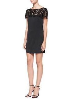 Milly Chelsea Lace-Yoke Shift Dress