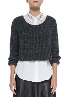 Milly Cropped Ribbed Knit Sweater