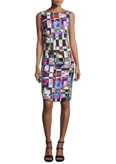 Milly Cubist-Print Midi Sheath Dress, Multicolor
