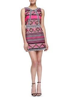 Milly Diamond Striped Jacquard Mini Dress
