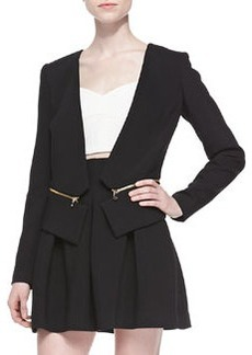 Milly Double-Weave Cady Zip-Off Blazer