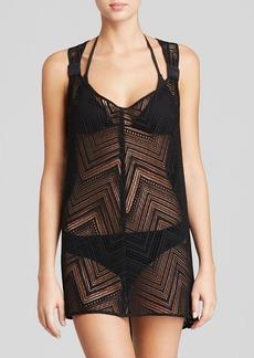 MILLY Drapey Crochet Swim Cover Up Tunic