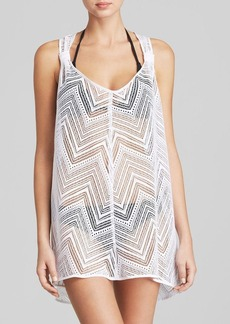 MILLY Drapey Crochet Swim Cover Up Tunic
