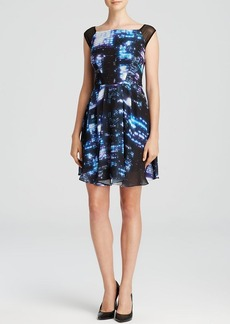 MILLY Dress - Bella Cityscape Print Cap Sleeve