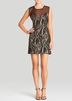MILLY Dress - Lena Metallic Swirl Jacquard