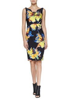 Milly Ella Sleeveless Pop Art Floral-Print Dress