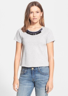 Milly Embellished Crop Swing Tee