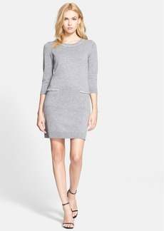 Milly Embellished Trim Sweater Dress